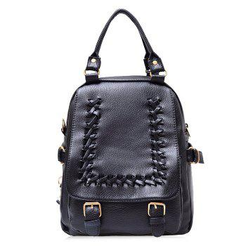 Braid Double Buckle Straps Faux Leather Backpack - BLACK BLACK
