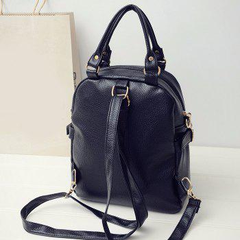 Braid Double Buckle Straps Faux Leather Backpack -  BLACK