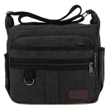Multi Zippers Canvas Metal Shoulder Bag