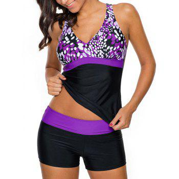 Printed Cross Back Tankini Set - LIGHT PURPLE M