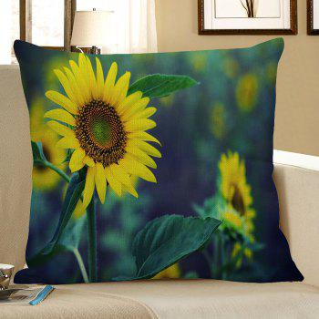 Sunflower Printed Linen Pillow Case - GREEN AND YELLOW W18 INCH * L18 INCH