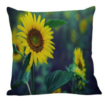 Sunflower Printed Linen Pillow Case - W18 INCH * L18 INCH W18 INCH * L18 INCH