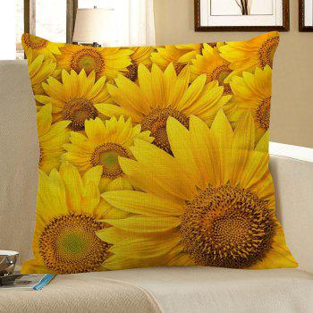 Multi Sunflowers Pattern Linen Pillow Case - YELLOW W18 INCH * L18 INCH