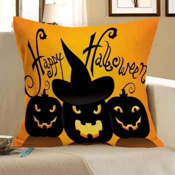 Halloween Pumpkin Skulls Pattern Linen Pillow Case - BLACK AND ORANGE BLACK/ORANGE