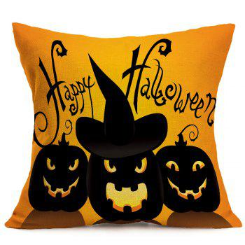 Halloween Pumpkin Skulls Pattern Linen Pillow Case - BLACK/ORANGE BLACK/ORANGE
