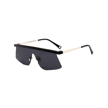 Semi Rimless Mirror Shield Sunglasses - BLACK