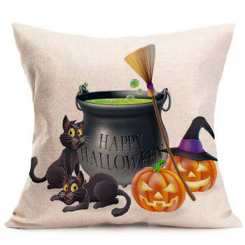 Cats Pumpkins Halloween Happy Party Printed Pillow Case - COLORFUL COLORFUL