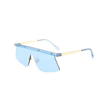 Semi Rimless Mirror Shield Sunglasses - LIGHT BLUE