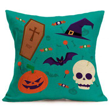 Halloween Pumpkin Bat Skull Candies Printed Pillow Case - COLORFUL COLORFUL
