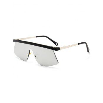 Semi Rimless Mirror Shield Sunglasses - SILVER SILVER