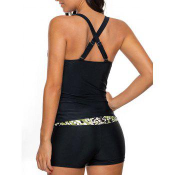Printed Cross Back Tankini Set - L L