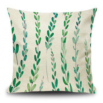 Linen Leaf Print Decorative Pillow Case - LIGHT GREEN LIGHT GREEN