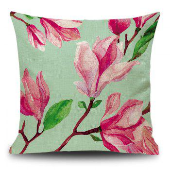 Linen Decorative Flower Print Pillow Case - DEEP PINK DEEP PINK