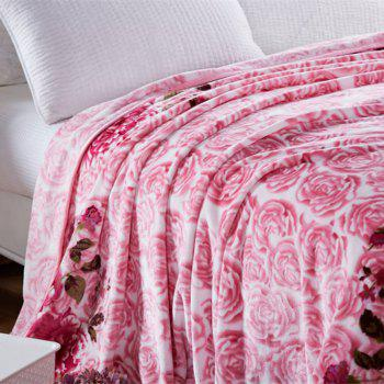 Blooming Rose Print Soft Throw Blanket - ROSY PINK ROSY PINK