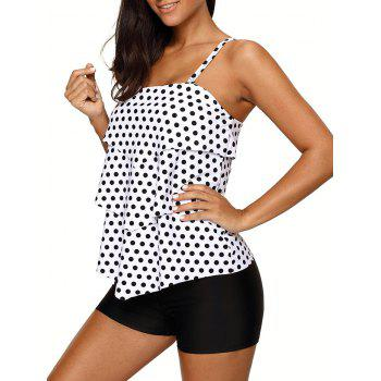 Ensemble Tonned Polka Dot Tankini - [
