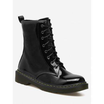Patent Leather Tie Up Ankle Boots