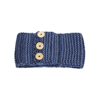 Crochet Button Warm Elastic Hair Band - Bleu Cadette