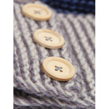 Crochet Button Warm Elastic Hair Band -  GRAY