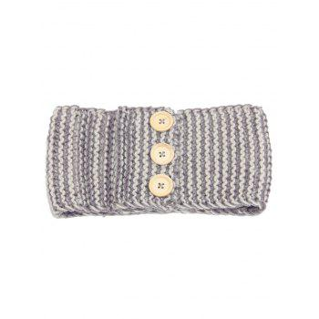 Crochet Button Warm Elastic Hair Band - GRAY GRAY