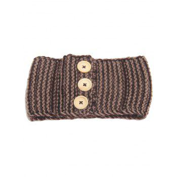 Crochet Button Warm Elastic Hair Band - KHAKI KHAKI