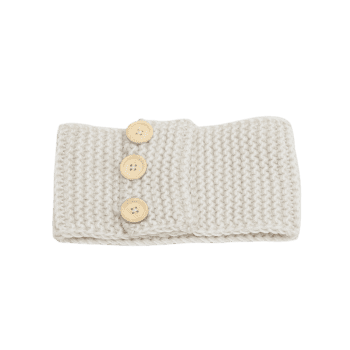 Crochet Button Warm Elastic Hair Band - Blanc Cassé
