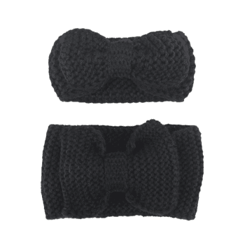 Crochet Bows Mom and Kid Elastic Hair Band Set - BLACK