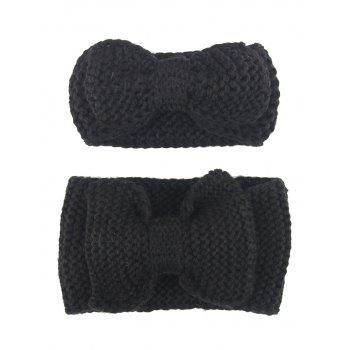 Crochet Bows Mom and Kid Elastic Hair Band Set - BLACK BLACK