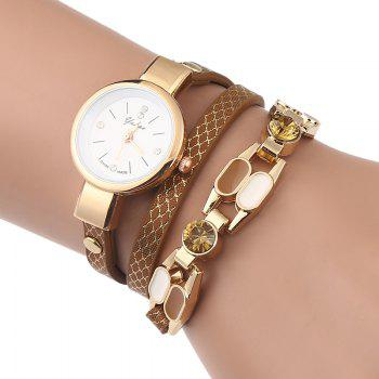 Rhinestone Wrap Bracelet Watch - BROWN BROWN