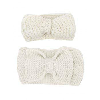 Crochet Bows Mom and Kid Elastic Hair Band Set - OFF-WHITE OFF WHITE