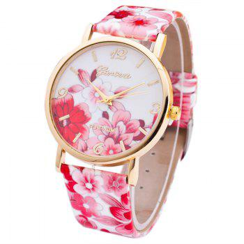 Flowers Print Faux Leather Number Watch - RED RED