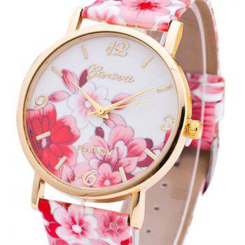 Flowers Print Faux Leather Number Watch - RED