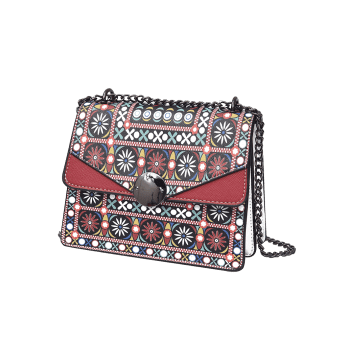 Tribal Print Chain PU Leather Crossbody Bag - RED