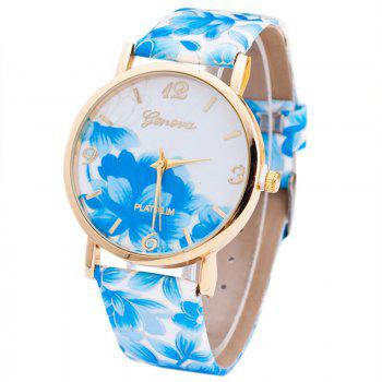 Flowers Print Faux Leather Number Watch - BLUE BLUE