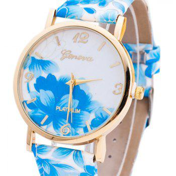 Flowers Print Faux Leather Number Watch -  BLUE
