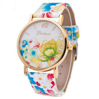 Flowers Print Faux Leather Number Watch - COLORFUL COLORFUL