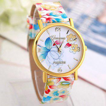 Flowers Print Faux Leather Number Watch - COLORFUL
