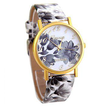 Flowers Print Faux Leather Number Watch - GRAY GRAY