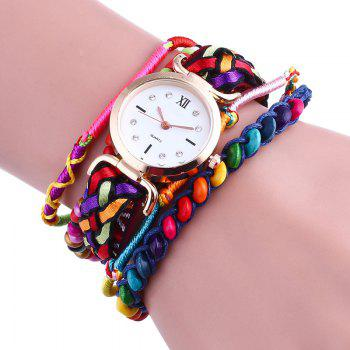 Beaded Braided Bracelet Watch - RED RED