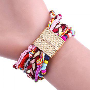 Beaded Braided Bracelet Watch - RED