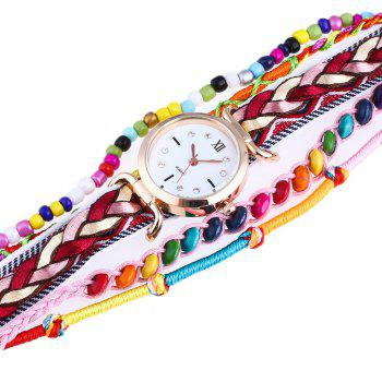 Beaded Braided Bracelet Watch -  BLACK