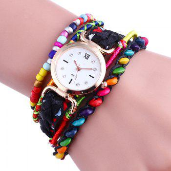 Beaded Braided Bracelet Watch - BLACK BLACK