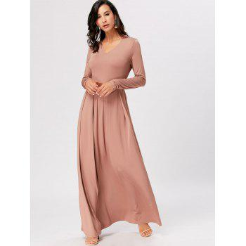 Long Sleeve High Waist Maxi A Line Dress - APRICOT 2XL