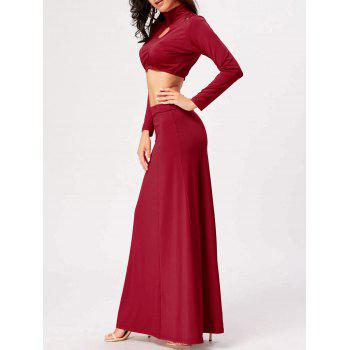 Cut Out High Waist Two Piece Party Dress - RED XL