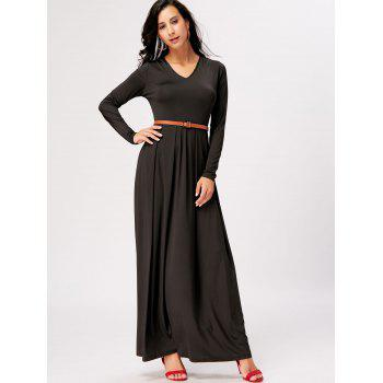 Long Sleeve High Waist Maxi A Line Dress - BLACK L