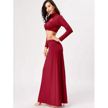 Cut Out High Waist Two Piece Party Dress - RED L
