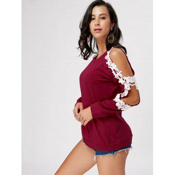 Crochet Trimmed Split Sleeve Top - WINE RED M