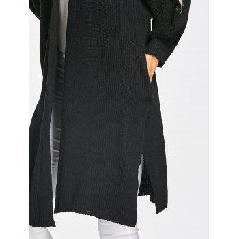 Embroidered Cable Knit Long Cardigan - BLACK ONE SIZE