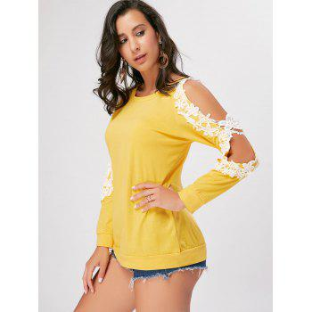 Crochet Trimmed Split Sleeve Top - YELLOW S