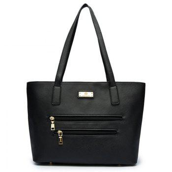Faux Leather Metal Shoulder Bag - BLACK BLACK