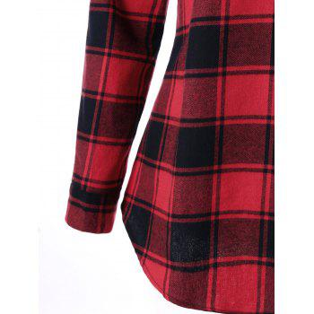 Curved Hem Plaid Blouse - RED 2XL
